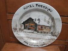 Piatto ceramica HOTEL PARADISO Livigno SONDRIO dipinto a mano 1986
