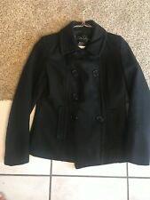 Women's Wool Pea Coat Black Double Breasted Size 10