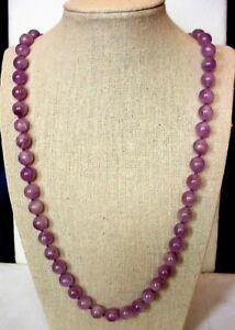 "Genuine Lavender Amethyst Necklace, A 10 mm 32"" loop, Natural Color"