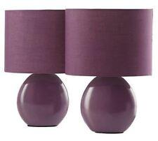 2 x Mia Table Desk Lamp Lamps Light - Plum Purple - New