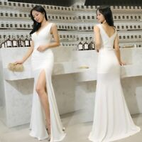 Womens Deep V-neck Dresses Long Sleeveless Slit Sexy  Party Formal Slim fitted