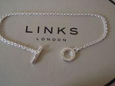 GENUINE LINKS OF LONDON Sterling Silver Tbar Pendant Chain Bracelet 18cm BNIB