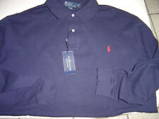 NEW BIG MENS RALPH LAUREN NAVY W/RED POLO L/S MESH POLO SHIRT SIZE 3X $95