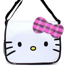 Hello Kitty Face Crossbody Messenger School Tote Book Bag Backpack by Sanrio NEW