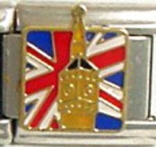1 Big Ben Union Jack Britain 9MM Stainless Steel Italian Charm Brand New!