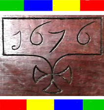 1676 ANTIQUE 17th C CARVED OAK HOLY BIBLE BOX Chest Christian King James Church