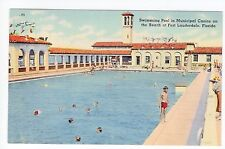 Vintage Fort Lauderdale, FL Postcard - Municipal Casino Swimming Pool - Unposted