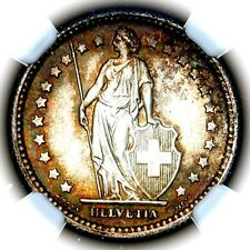 More details for 1908 b helvetia switzerland bern silver franc km 24 ngc ms66+