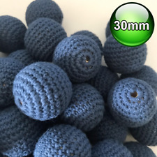 10 x Crochet wood beads 30mm Navy Blue large wooden teething baby safe jewellery