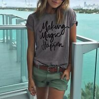 Women Letter Printed Tops Vest Pullover T Shirt Casual Loose Short Sleeve Blouse