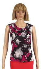 Kasper Size XSmall Magenta Black Floral Print Gathered Neckline Shell  Blouse