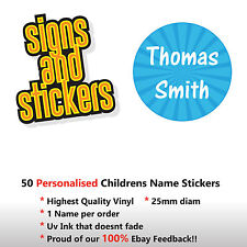 50 Personalised Childrens Name Stickers Labels Lunch Boxes - School Tags Pens.