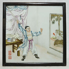 Chinese  Famille  Rose  Porcelain  Plaque   With  Frame  36