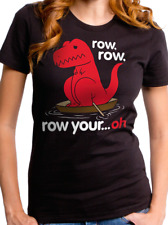 Tyrannosaurs T. Rex Short Hand Dinosaur Row Your Boat oh? Ladies T-shirt Jr XL