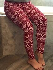 Buttery Soft Red Christmas Snowflake Legging One Size S M L Holiday Star Snow OS