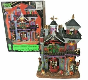 Lemax Spooky Town Fire Department - Lighted Animated WORKS! Complete w/ Paperwk