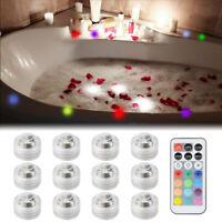8pcs/12pcs LED RGB Submersible Light Remote Control Waterproof Party Vase Decor