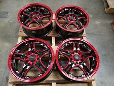 15x6.5 Red Black Wheels Rims 5x100 5x114.3 Ford Edge Fusion Celica Impreza Scion
