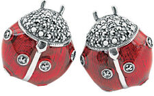 LADYBIRD CUFFLINKS ENAMEL MARCASITE SET SILVER FROM ARI D NORMAN  FATHER'S DAY