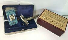 Ancien rasoir Gilette boîte inox + boîte repasseur de lames ( vide)