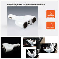 12v/24v 2 Way Car Cigarette Lighter Multi Socket Twin USB Charger Power Adaptor