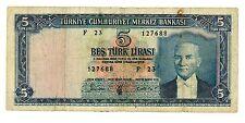 Turkey ... P-173 ... 5 Lirasi ... L.1930 (1960) ... *F*.