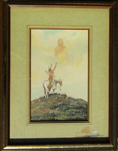 William Zivic Native American Warrior & Spirit Guide Watercolor Painting NO RES.