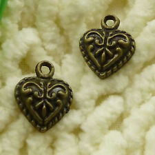 free ship 110 pieces Antique bronze heart charms 14x11mm #3108