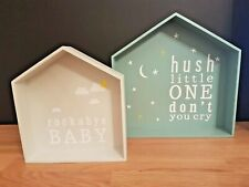 GORGEOUS M&S  Baby/Hush Little One WOODEN HOUSE SHAPED SHELF NEXT DAY