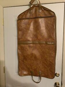 Vtg Executive 100 Suit Garment Bag Luggage Brown Vinyl 1960s Folding Pocket Nice