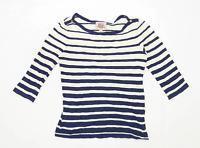 Arabella & Addison Womens Size M Striped Cotton Blue Top (Regular)