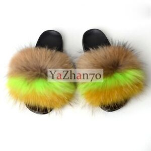 2021 Women's Shoes Sandals Fluffy Real Big Raccoon Fur Flat Slides Slippers Slid