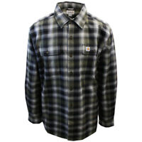 Carhartt Men's Relaxed Fit Black Green White Plaid Heavy L/S Woven Shirt (366B)