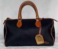 DOONEY & BOURKE Black Nylon and Vachetta Leather Satchel Cognac Brown Small Bag