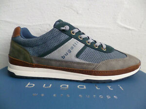 Bugatti Sneakers Shoes Lace-Up Slippers Blue/Grey A3A01 New