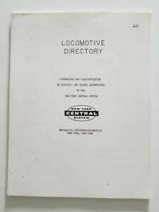 1967 NYC Railroad Directory: Dimensions & Classification Electric & Diesel Locos
