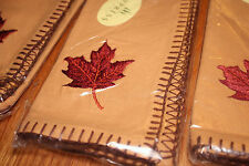 Set 4 Embroidered Maple Leaf Fall Napkins Gold 100% Cotton Fabric NEW Cypress