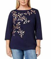 Karen Scott Womens Plus Size 2X Intrepid Blue Metallic Print 3/4 Sleeve Top NEW