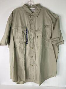 Columbia PFG Fishing Shirt Tan Vented Button Front Mens Size XXL NWT
