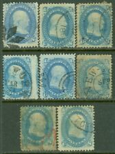 EDW1949SELL : USA 1861 Scott #63. 8 stamps. Used with Better cancels. Cat $360.