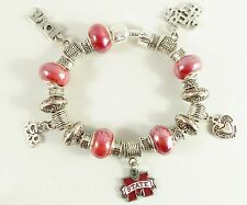 MISSISSIPPI STATE BULLDOGS NCAA Licensed Charm Silver TEAM Bracelet GLASS BEADS