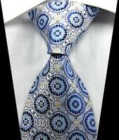 New Classic Patterns Blue Light Blue JACQUARD WOVEN 100% Silk Men's Tie Necktie