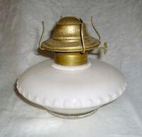 "ANTIQUE WHITE CASED GLASS ""PANCAKE"" STYLE BRACKET OIL LAMP"
