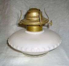 "ANTIQUE WHITE CASED GLASS ""PANCAKE"" STYLE BRACKET OIL LAMP"