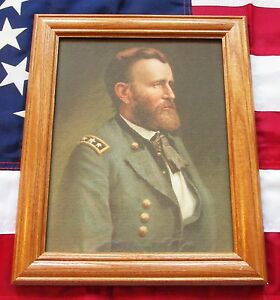 Framed Civil War Painting on canvas, Portrait of Ulysses S Grant by Thulstrup