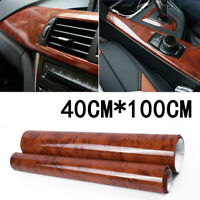 Glossy Car Interior Wood Grain Textured Vinyl Wrap Sticker Decal Sheet Film DIY
