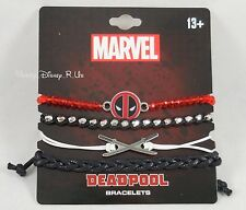 New Marvel Deadpool Cord & Bead Bracelet Set 4 Pack Arm Party Sword Logo Charms