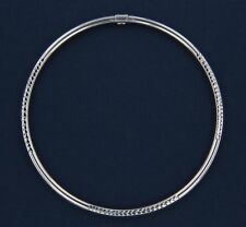 14k White Gold Bangle Bracelets Hollow. Texture Blocking perfect gift