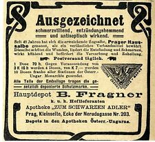 PRAGER HAUSSALBE Apotheke Zum schwarzen Adler Prag Historische Annonce 1910