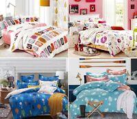 100% Cotton Reversible Duvet cover Pillow cases Bedding Set 400TC Double King